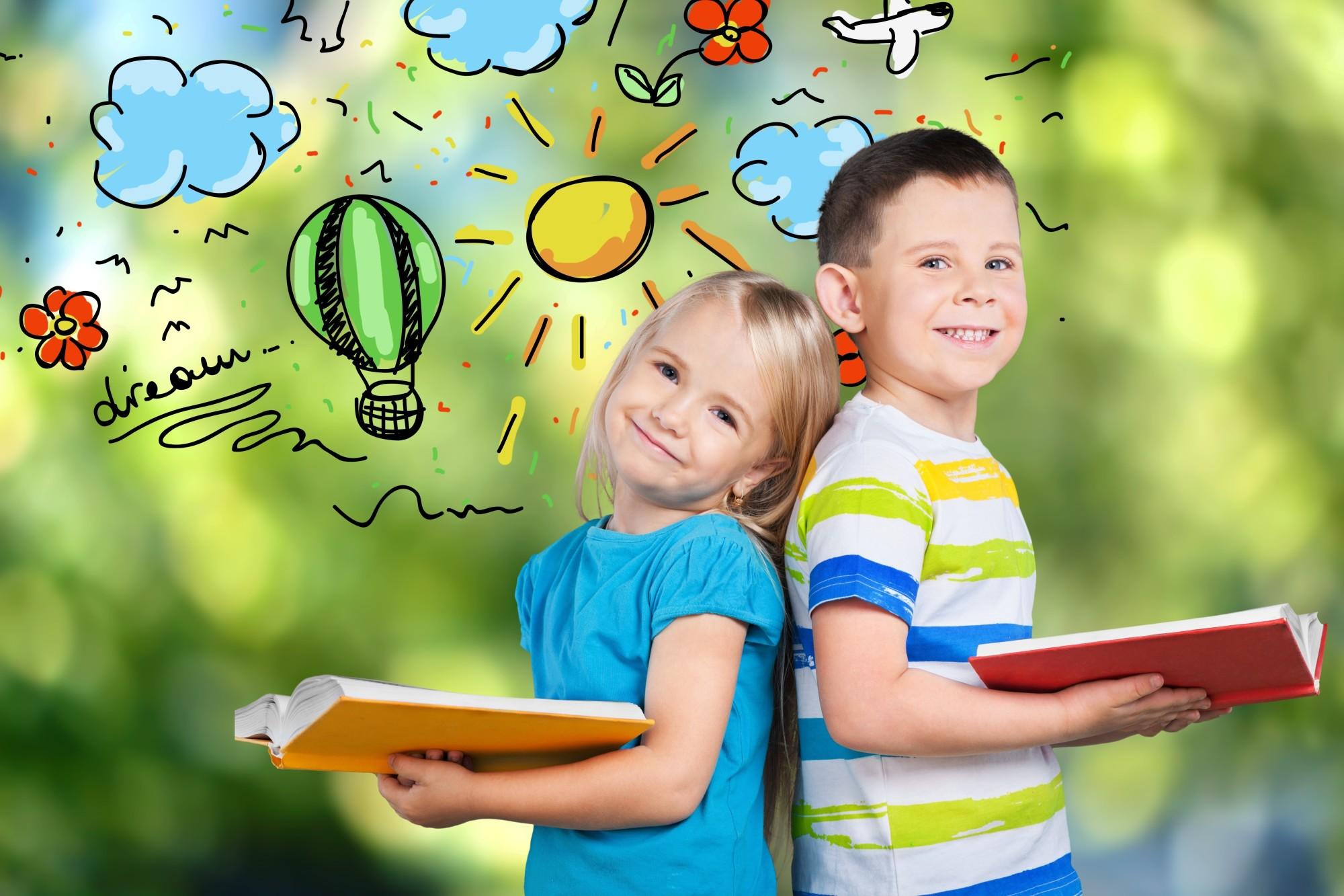 Education and school concept - little student